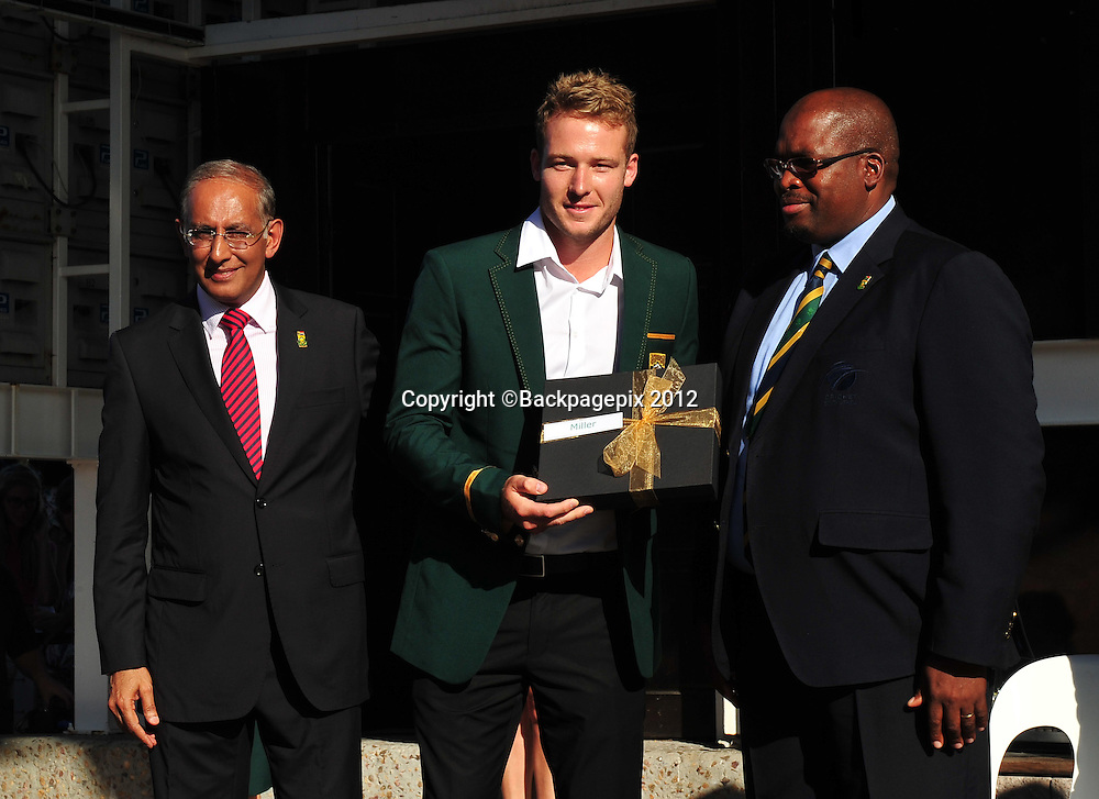 Haroon Lorgat (Cricket South Africa CEO), David Miller and Chris Nenzani (President of Cricket South Africa) during the 2015 Cricket World Cup Protea squad announcement  at the V&A Waterfront, Cape Town on 7 January 2015 ©Ryan Wilkisky/BackpagePix