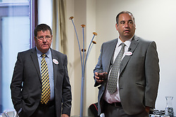 © Licensed to London News Pictures . 08/08/2016 . Manchester , UK . MIKE HOOKEM MEP (l) and Councillor BILL ETHERIDGE (r) at the launch of Etheridge's campaign to be the leader of UKIP at the Manchester Conference Centre . The leadership contest follows the resignation of Nigel Farage . Etheridge is supported by UKIP defence spokesman Mike Hookem MEP . Photo credit : Joel Goodman/LNP