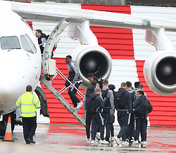 Anthony Martial and Matteo Darmian as the Manchester United team fly to Wales on Tuesday morning for their Carabao Cup match against Swansea City