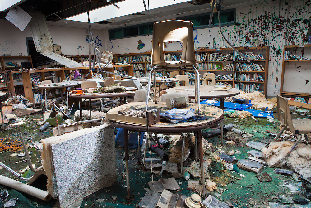 The library in the  Moton Elementary School on Abundance Street remains blighted almost six year after Hurricane Katrina. As the six year anniversary of Hurricane Katrina nears  blight remains in New Orleans. Many of the programs to remove blight and help the city recover are federally funded and will face cuts because of the economic decline.
