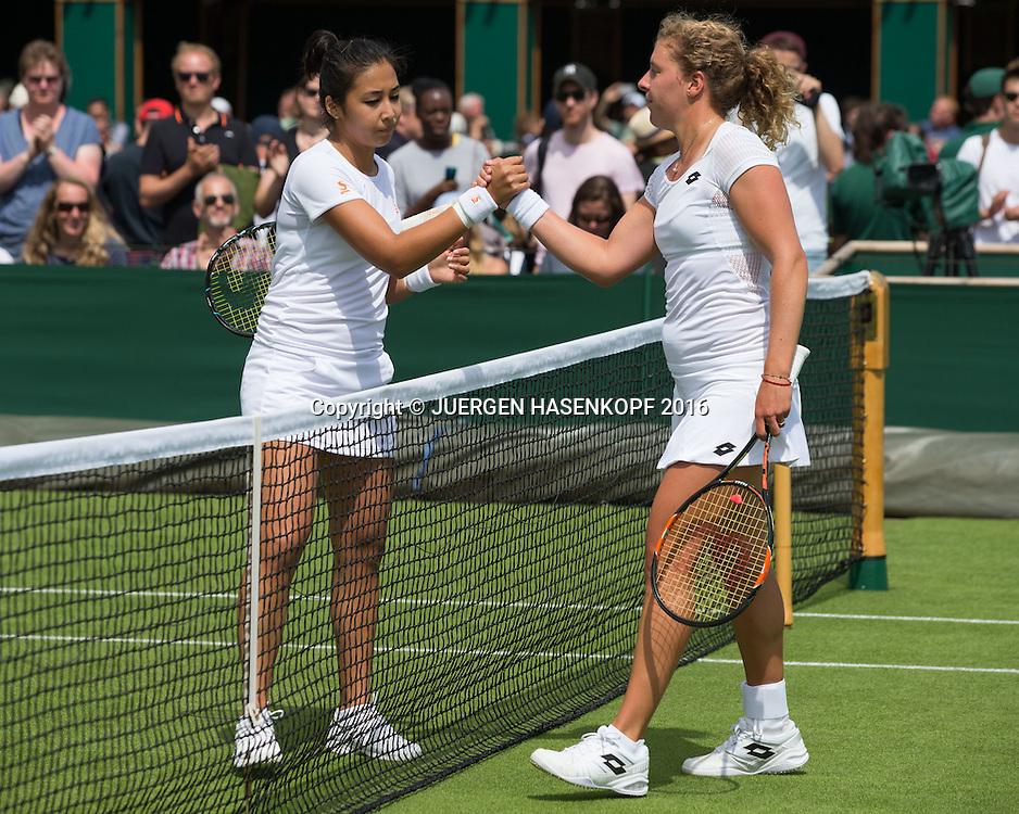 Zarina Diyas gratuliert der Siegerin Anna-Lena Friedsam (GER) am Netz <br /> <br /> Tennis - Wimbledon 2016 - Grand Slam ITF / ATP / WTA -  AELTC - London -  - Great Britain  - 27 June 2016.