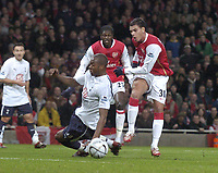 Photo: Olly Greenwood.<br />Arsenal v Tottenham Hotspur. Carling Cup Semi Final 2nd leg 31/01/2007. Arsenal's Jeremie Aliadiere shoots past Spurs Anthony Gardner