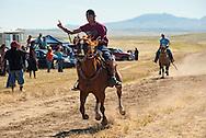 Fort Belknap Indian Reservation, Milk River Memorial Horse Races, Men Half Mile Race, winner, Nolan Werk, Gros Ventre. .