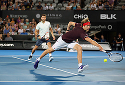 SYDNEY, Jan. 8, 2018  Grigor Dimitrov/Alexander Zverev(R) compete during the FAST4 of Sydney International match between Nick Kyrgios/Lleyton Hewitt of Australia and Grigor Dimitrov of Bulgaria/Alexander Zverev of Germany in Sydney, Australia, on Jan. 8, 2018. Nick Kyrgios/Lleyton Hewitt won 2-1. (Credit Image: © Bai Xuefei/Xinhua via ZUMA Wire)