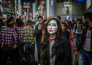 "Woman on ""Sentagai"" shopping street in Shibuya during Halloween.  In the capital of Cosplay, celebrating Halloween has exploded in Japan.  Tokyo, Japan."