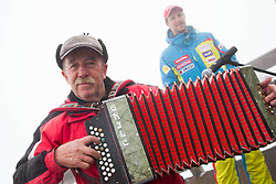 Music during last race of Andrej Jerman, Slovenian best downhill skier when he finished his professional alpine ski career on April 6, 2013 in Krvavec Ski resort, Slovenia. (Photo By Vid Ponikvar / Sportida)