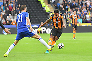 Hull City midfielder Tom Huddlestone (8) takes a long range shot at goal during the Premier League match between Hull City and Chelsea at the KCOM Stadium, Kingston upon Hull, England on 1 October 2016. Photo by Ian Lyall.