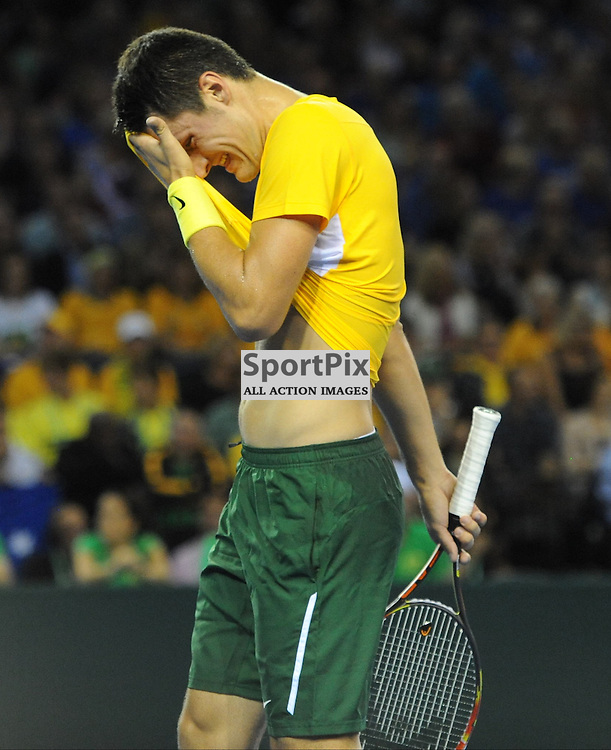 Bernard Tomic during the Great Britain v Australia, Semi Finals,  Aegeon Davis Cup by BNP Paribas, Friday 18 September 2015 (c) Angie Isac | SportPix.org.uk