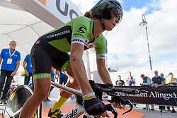 Alison Tetrick (Cylance Pro Cycling) rolls off the start ramp for the 42,5 km team time trial of the UCI Women's World Tour's 2016 Crescent Vårgårda Team Time Trial on August 19, 2016 in Vårgårda, Sweden. (Photo by Sean Robinson/Velofocus)