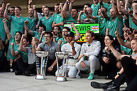 Race winner Lewis Hamilton (GBR) Mercedes AMG F1 celebrates with team mate Nico Rosberg (GER) Mercedes AMG F1 and the team.<br /> United States Grand Prix, Sunday 2nd November 2014. Circuit of the Americas, Austin, Texas, USA.