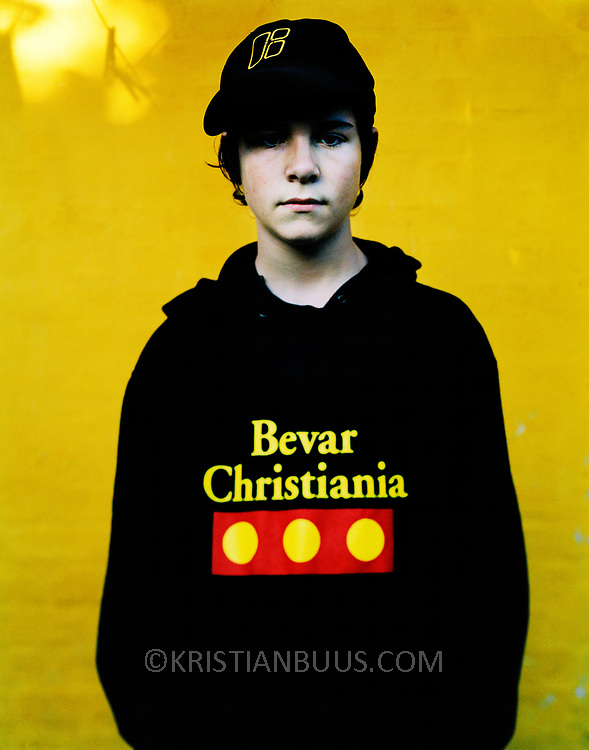 Lukas Graham, outside his home in Christiania as part of a story into living and life in the Free State of Denmark, Copenhagen 2003