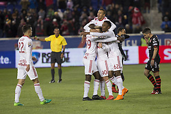 March 13, 2018 - Harrison, New Jersey, United States - Red Bulls team celebrates scoring goal by Marc Rzatkowski (90) during Scotiabank Concacaf Champions League quarterfinal second leg game against Club Tijuana at Red Bull Arena Red Bulls won 3 - 1 (5 - 1 on aggregate) (Credit Image: © Lev Radin/Pacific Press via ZUMA Wire)
