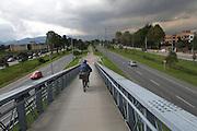 Bike line splits the autopista in one of Bogota's wealthier districts - Bogota - Colombia