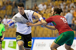 Fredrik Simak of Germany and Luis Frade of Portugal during handball match between National teams of Germany and Portugal in game for Third place of 2018 EHF U20 Men's European Championship, on July 29, 2018 in Arena Zlatorog, Celje, Slovenia. Photo by Urban Urbanc / Sportida