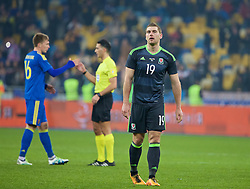 KIEV, UKRAINE - Easter Monday, March 28, 2016: Wales' Sam Vokes looks dejected as his side lose 1-0 to Ukraine during the International Friendly match at the NSK Olimpiyskyi Stadium. (Pic by David Rawcliffe/Propaganda)