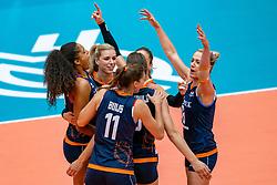 02-08-2019 ITA: FIVB Tokyo Volleyball Qualification 2019 / Belgium - Netherlands, Catania<br /> 1e match pool F in hall Pala Catania between Belgium - Netherlands. Netherlands win 3-0 / Celeste Plak #4 of Netherlands, Anne Buijs #11 of Netherlands, Britt Bongaerts #12 of Netherlands, Robin de Kruijf #5 of Netherlands, Myrthe Schoot #9 of Netherlands, Maret Balkestein-Grothues #6 of Netherlands
