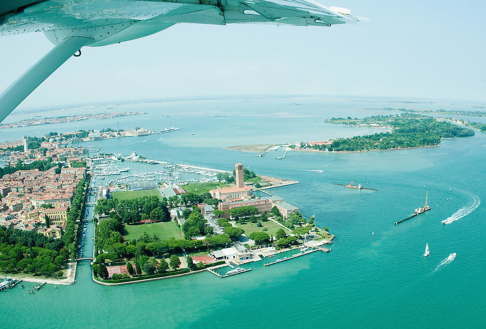 VENICE, ITALY - JULY 07:   An aerial view of Venice Sant'Elena island seen during the Seawing  tour above Venice on July 7, 2011 in Venice, Italy. Seawings has started a new tour of Venice by seaplane, offering aerial views of the Venetian Lagoon and its historic islands, continuing a long history of seaplanes in Venice.