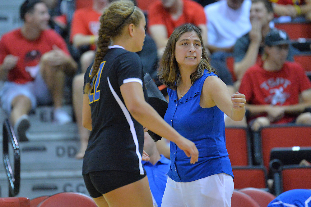 August 26, 2016; Las Vegas, Nev.; UCSB head coach Nicole Lantagne Welch gives her team instructions during a match between the UNLV Lady Rebels and UC Santa Barbara Gauchos. UNLV defeated UCSB 3-0.