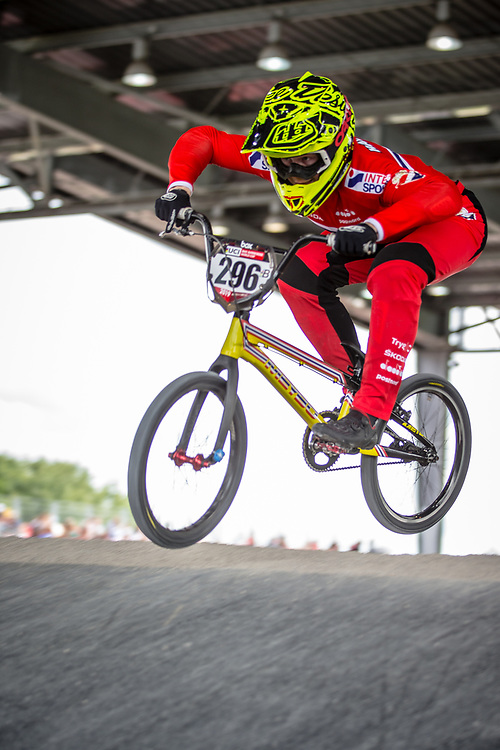#296 (HALVORSEN Niklas) NOR at Round 6 of the 2019 UCI BMX Supercross World Cup in Saint-Quentin-En-Yvelines, France