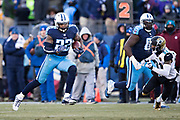 NASHVILLE, TN - DECEMBER 31:  Derrick Henry #22 of the Tennessee Titans runs for a touchdown during a game against the Jacksonville Jaguars at Nissan Stadium on December 31, 2017 in Nashville, Tennessee.  The Titans defeated the Jaguars 15-10.  (Photo by Wesley Hitt/Getty Images) *** Local Caption *** Derrick Henry