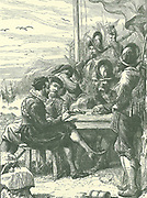 Walter Raleigh (1552-1612) English courtier and navigator, with members of his expedition on the island of Trinidad, 1595.  Late 19th century illustration c1890.