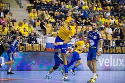 Kristian Beciri of RK Celje Pivovarna Lasko during handball match between RK Celje Pivovarna Lasko and PGE Vive Kielce in Group Phase A+B of VELUX EHF Champions League, on September 30, 2017 in Arena Zlatorog, Celje, Slovenia. Photo by Urban Urbanc / Sportida