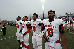 Philadelphia, PA, USA - November 28, 205; In a thrilling game, played at North East High School, Imhotep Institute Charter School Panthers from West Oak Lane take the city title by winning from Archbishop Wood Vikings with 20-14. <br /> <br /> With the victory over the Pennsylvania Interscholastic Athletic Association (PIAA) 2014 State Champs the Panthers advance to the Quarter Finals of the Class AAA State Championship. (photo by Bastiaan Slabbers)
