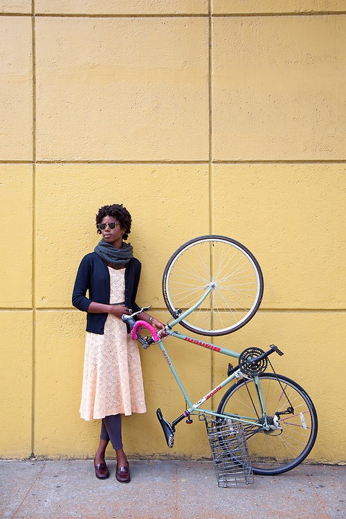 Maya Gamble with Bianchi Speed Bicycle in Oakland, California