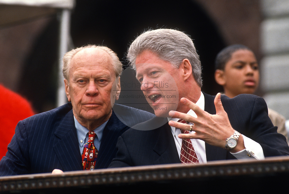 Presidents Gerald Ford with Bill Clinton at the Presidents Summit for America's Future in Philadelphia, PA.