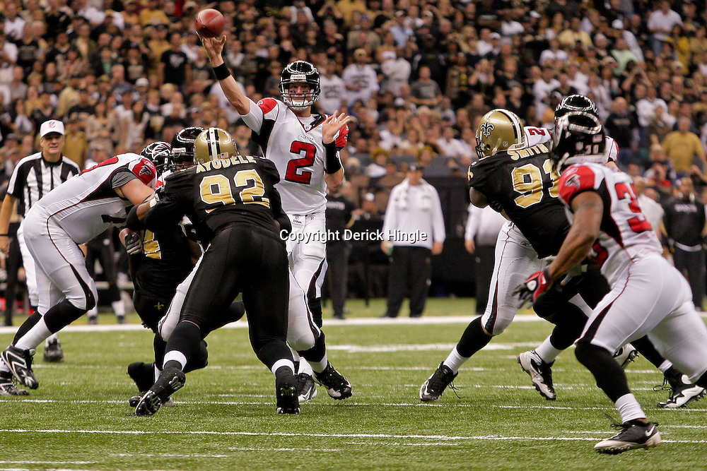 2009 November 02: Atlanta Falcons quarterback Matt Ryan (2) throws a pass to runninng back Aaron Stecker (30) in the first half against the New Orleans Saints during a 35-27 win by the Saints over the Falcons at the Louisiana Superdome in New Orleans, Louisiana.