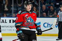 KELOWNA, BC - DECEMBER 18: Conner McDonald #7 of the Kelowna Rockets stands on the ice during a time out against the Vancouver Giants at Prospera Place on December 18, 2019 in Kelowna, Canada. (Photo by Marissa Baecker/Shoot the Breeze)