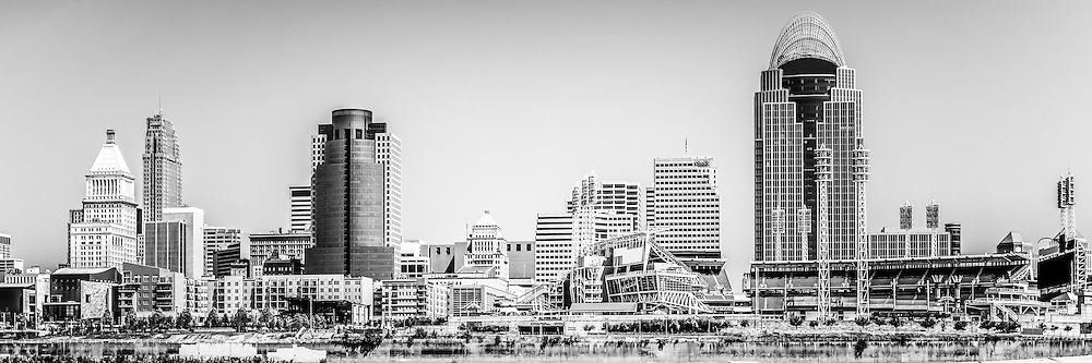 Panorama Picture of Cincinnati skyline in black and white. Panoramic photo ratio is 1:3. Includes most popular downtown city buildings including Great American Ballpark, Great American Insurance Group Tower, PNC Tower building, Omnicare building, US Bank building, Carew Tower building, and Scripps Center building.