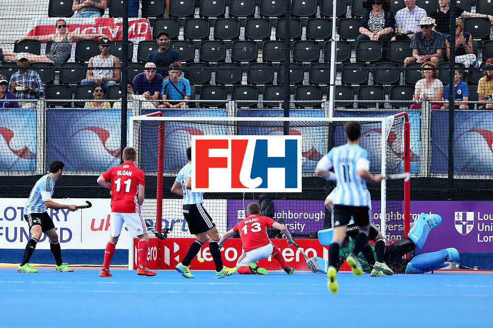 LONDON, ENGLAND - JUNE 18: Sam Ward of England scores the second goal for England during the Hero Hockey World League Semi Final match between England and Argentina at Lee Valley Hockey and Tennis Centre on June 18, 2017 in London, England.  (Photo by Alex Morton/Getty Images)