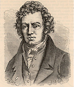 Andre-Marie Ampere (1775-1836) French mathematician and physicist who established the relationship of electricity and magnetism. Engraving from 'Les Merveilles de la Science' by Louis Figuier (Paris, c1870).