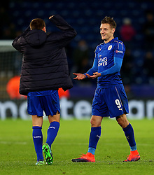 Jamie Vardy of Leicester City celebrates with Marc Albrighton at full time - Mandatory by-line: Matt McNulty/JMP - 22/11/2016 - FOOTBALL - King Power Stadium - Leicester, England - Leicester City v Club Brugge - UEFA Champions League