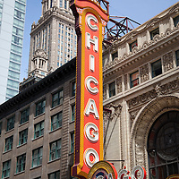 The Chicago Theater sign is one of Chicago's most famous and recognized symbols. Photo is vertical and high resolution.