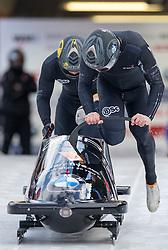 13.02.2016, Olympiaeisbahn Igls, Innsbruck, AUT, FIBT WM, Bob und Skeleton, Zweierbob Herren, 1. Lauf, im Bild Bradley Hall und Ben Simons (GBR) // Bradley Hall and Ben Simons of United Kingdom3 competes during two men Bobsleigh 1st run of FIBT Bobsleigh and Skeleton World Championships at the Olympiaeisbahn Igls in Innsbruck, Austria on 2016/02/13. EXPA Pictures © 2016, PhotoCredit: EXPA/ Johann Groder