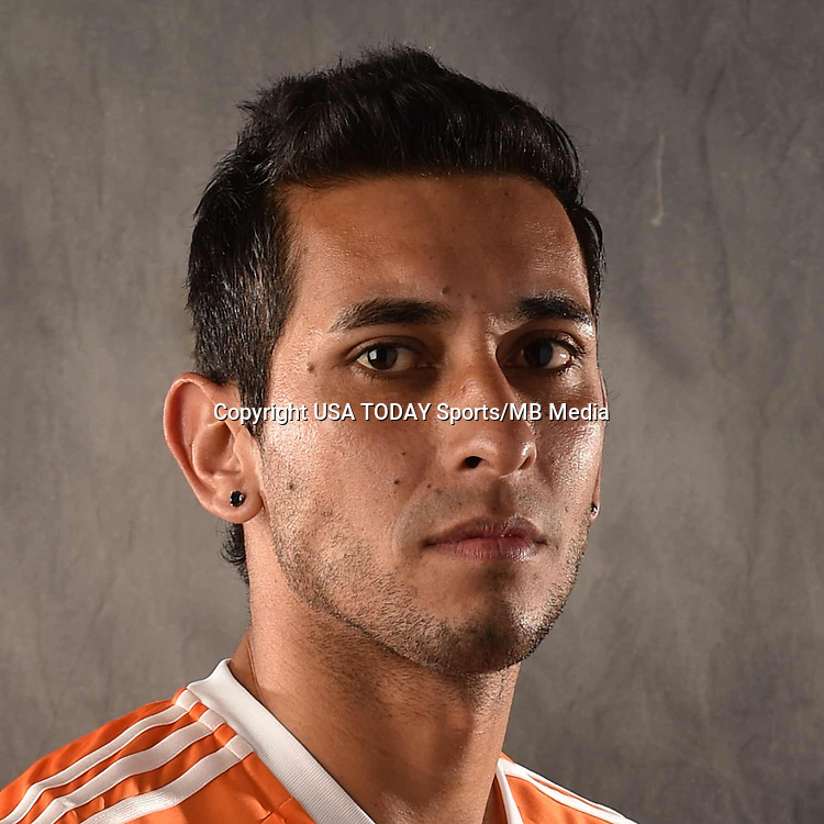 Feb 25, 2016; USA; Houston Dynamo player Cristian Maidana poses for a photo. Mandatory Credit: USA TODAY Sports