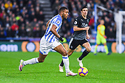 Steve Mounie of Huddersfield Town (24) in action during the Premier League match between Huddersfield Town and Burnley at the John Smiths Stadium, Huddersfield, England on 2 January 2019.