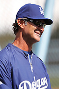LOS ANGELES, CA - APRIL 10:  Manager Don Mattingly #8 of the Los Angeles Dodgers smiles during batting practice during the game against the Pittsburgh Pirates on Tuesday, April 10, 2012 at Dodger Stadium in Los Angeles, California. The Dodgers won the game 2-1. (Photo by Paul Spinelli/MLB Photos via Getty Images) *** Local Caption *** Don Mattingly
