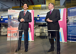 © Licensed to London News Pictures. 27/11/2012. Stevenage, UK ED BALLS (right) and ED MILIBAND talk. Ed Miliband MP, Leader of the Labour Party and Ed Balls MP, Labours Shadow Chancellor hold a joint question and answer session at Propak Sheet Metal LTD in Stevenage, today 27th November 2012, ahead of the Autumn Statement. Photo credit : Stephen Simpson/LNP