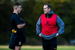 Wasps Defence Coach Ian Costello talks with Billy Searle of Wasps during training ahead of the European Challenge Cup fixture against SU Agen - Mandatory by-line: Robbie Stephenson/JMP - 18/11/2019 - RUGBY - Broadstreet Rugby Football Club - Coventry , Warwickshire - Wasps Training Session