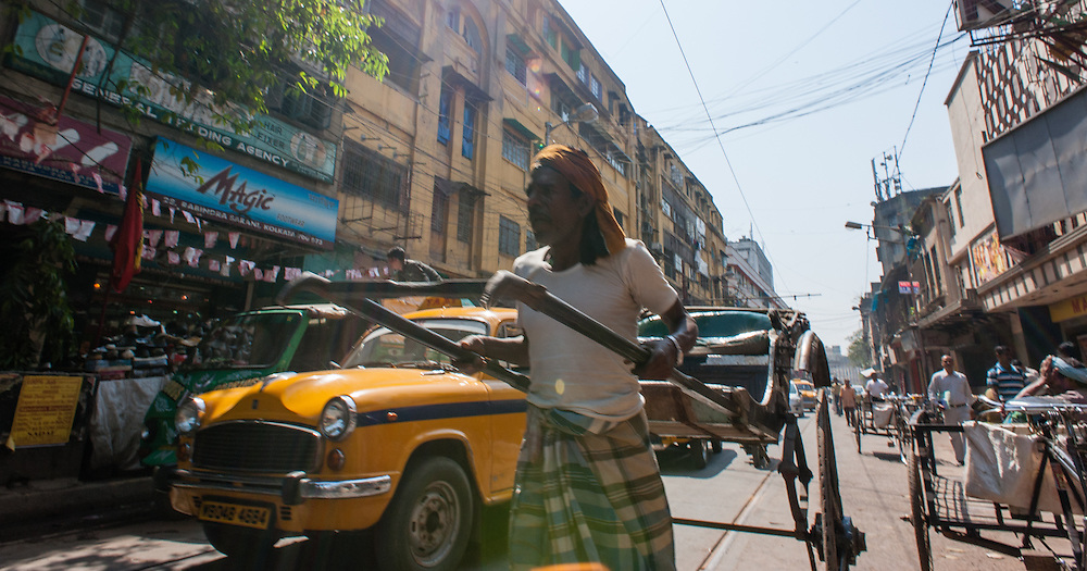 Rickshaw puller in Kolkata (India).