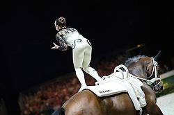 Corinna Knauf, (GER), Fabiola W, Alexandra Knauf - Individuals Women Final Vaulting - Alltech FEI World Equestrian Games™ 2014 - Normandy, France.<br /> © Hippo Foto Team - Jon Stroud<br /> 05/09/2014