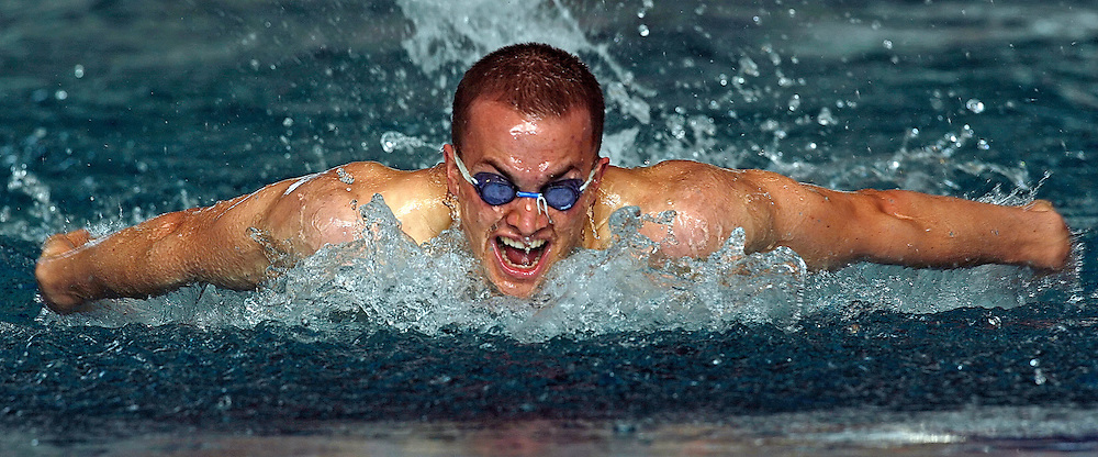 Simon Oberholzer of Switzerland competes in the men's 200m butterfly heats in the Hallenbad Oerlikon at the Swimming Swiss Championships in Zurich, Switzerland, Friday 11 May 2007. (Photo by Patrick B. Kraemer / MAGICPBK)