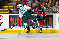 KELOWNA, BC - SEPTEMBER 28:  Gage Goncalves #39 of the Everett Silvertips checks Leif Mattson #28 of the Kelowna Rockets at the boards at Prospera Place on September 28, 2019 in Kelowna, Canada. (Photo by Marissa Baecker/Shoot the Breeze)