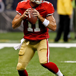 August 12, 2011; New Orleans, LA, USA;San Francisco 49ers quarterback Alex Smith (11) prior to kickoff of a preseason game against the New Orleans Saints at the Louisiana Superdome. Mandatory Credit: Derick E. Hingle