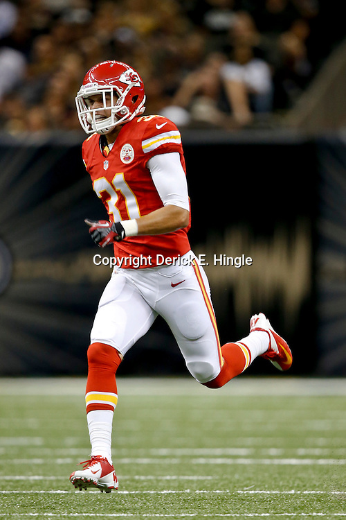 Aug 9, 2013; New Orleans, LA, USA; Kansas City Chiefs free safety Tysyn Hartman (31) against the New Orleans Saints during a preseason game at the Mercedes-Benz Superdome. The Saints defeated the Chiefs 17-13. Mandatory Credit: Derick E. Hingle-USA TODAY Sports