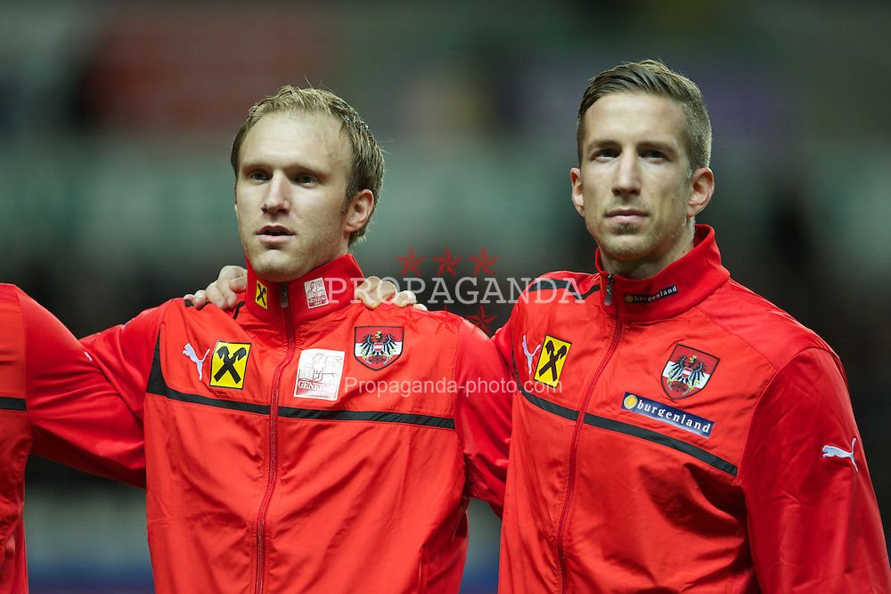 SWANSEA, WALES - Wednesday, February 6, 2013: Austria's goalkeeper Robert Almer and captain Marc Janko line-up before the International Friendly at the Liberty Stadium. (Pic by David Rawcliffe/Propaganda)