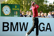 golf professional Benjamin Hebert teeing off on the 1st  during the BMW PGA Championship at the Wentworth Club, Virginia Water, United Kingdom on 26 May 2016. Photo by Simon Davies.